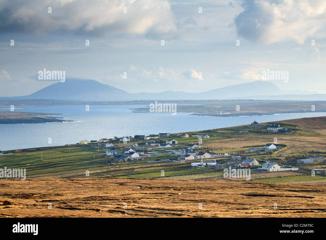 View across Carrowteige village and Broadhaven Bay, County Mayo, Ireland. - Stock Image