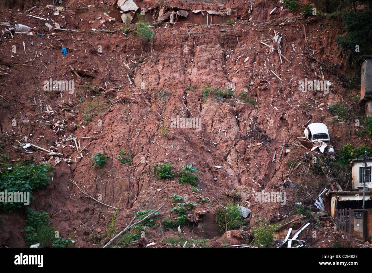 January 2011 Nova Friburgo flooding Rio de Janeiro State Brazil Landslide at Vilage quarter - Stock Image