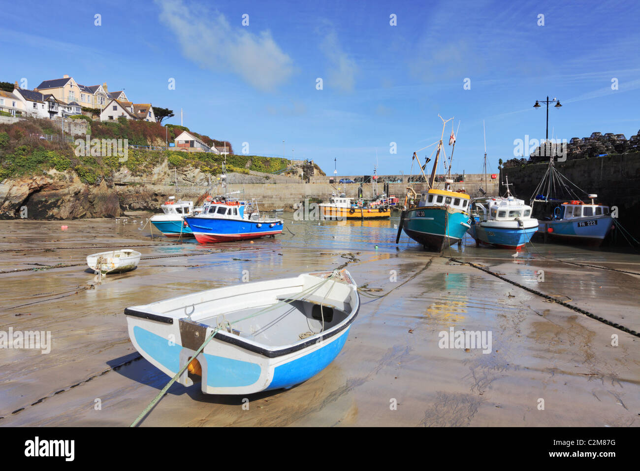 Newquay Harbour captured at low tide - Stock Image