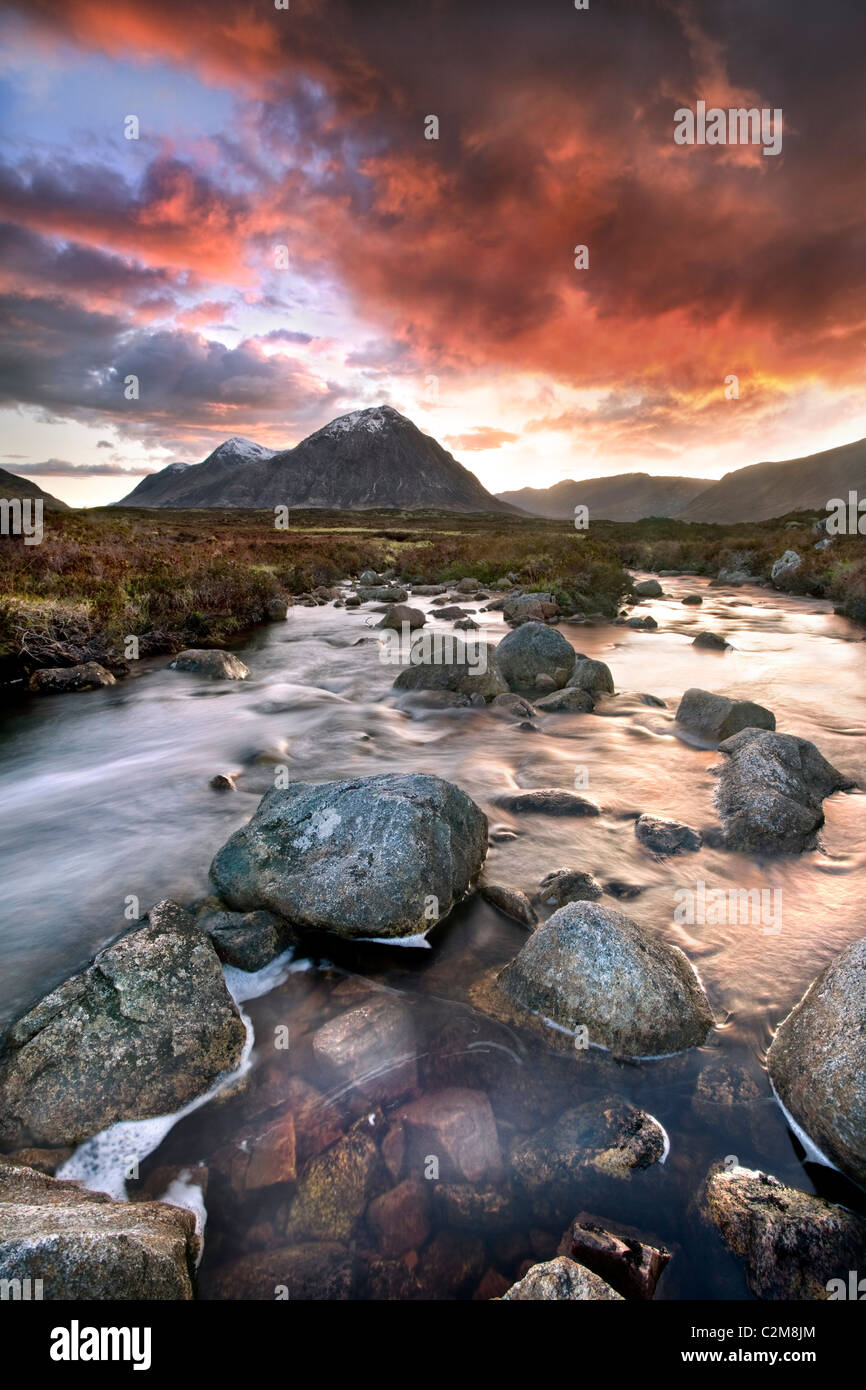 The Buachaille, is a mountain at the head of Glen Etive in the Highlands of Scotland. - Stock Image