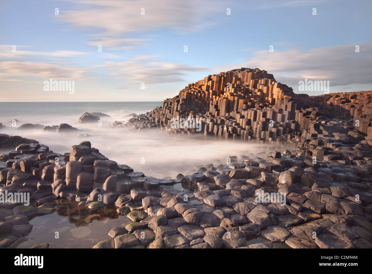 Giants causeway captured in the evening. - Stock Image