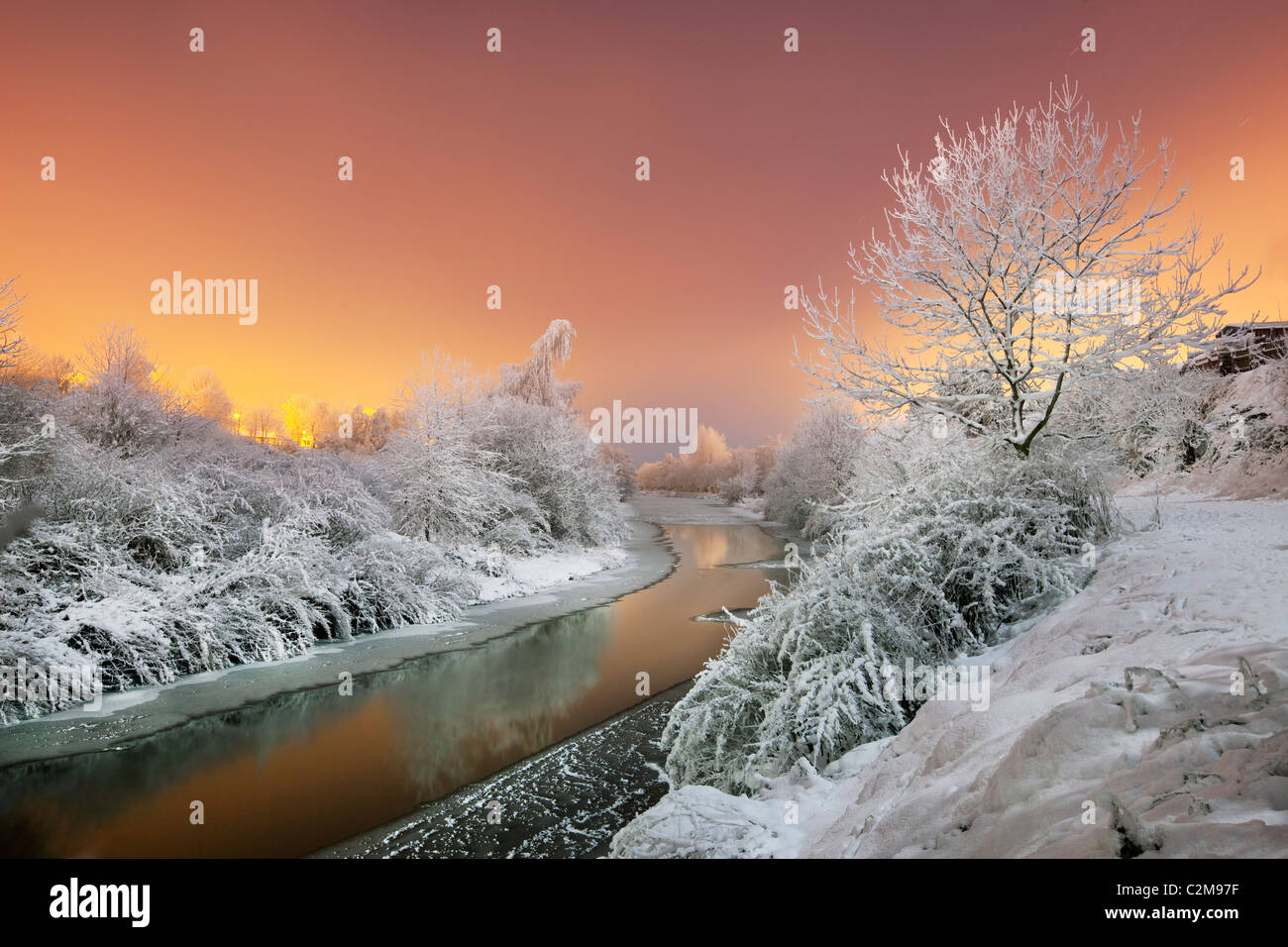 River Lagan in sub zero tempertures. - Stock Image