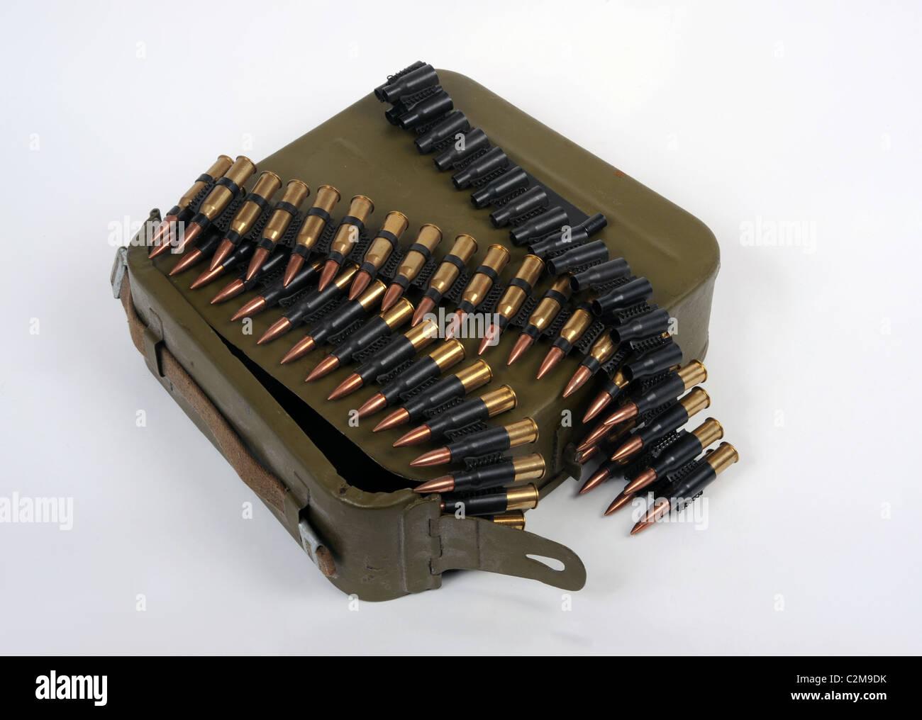 Russian 7.62mm belt fed machine gun ammunition - Stock Image