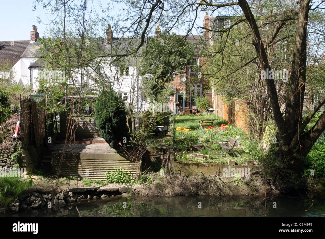 Riverside House, Thames Tributary, Oxford, England Stock Photo