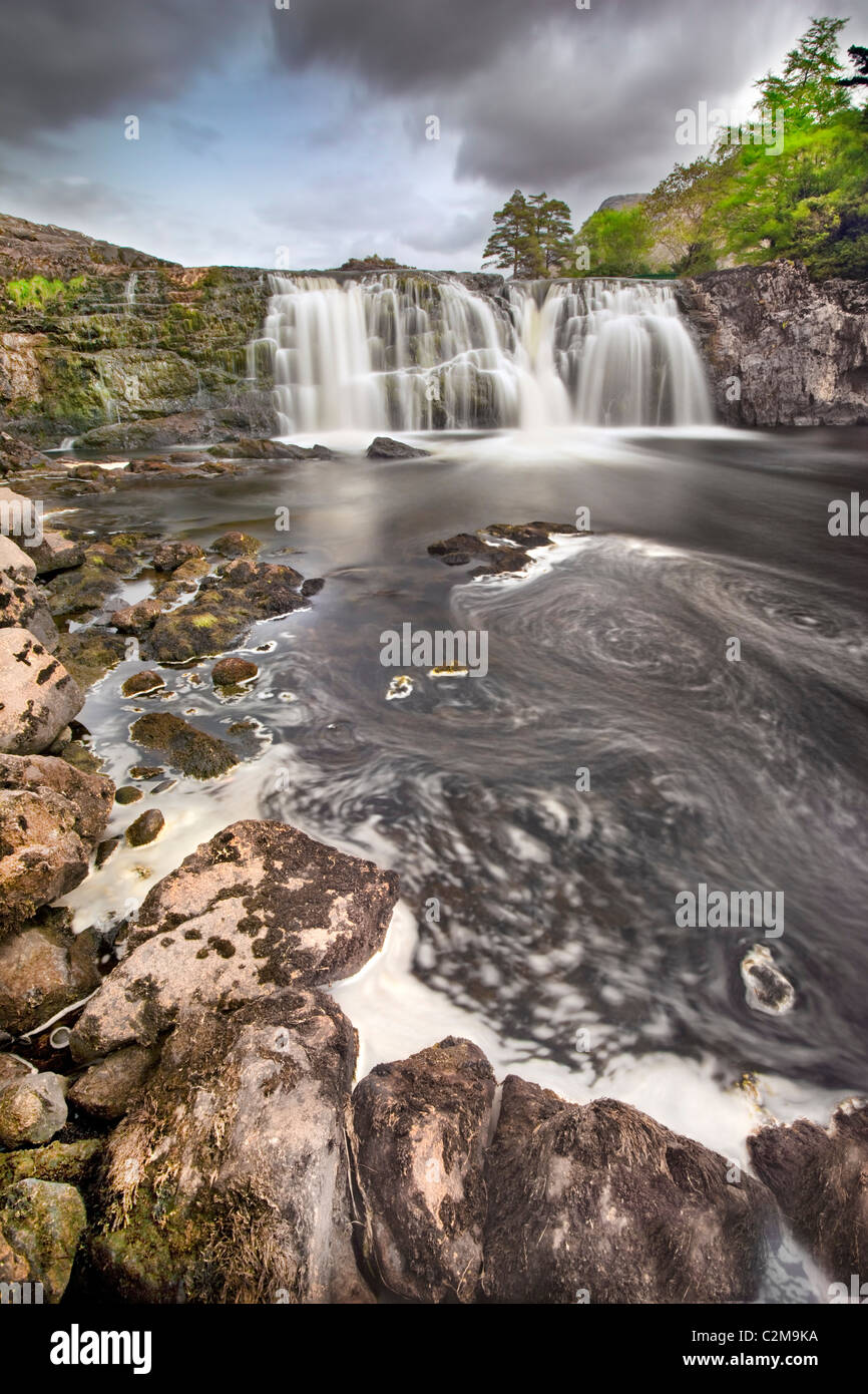 Aasleagh Falls are located near Killary Harbour on the outskirts of Leenane (Leenaun) in Co Mayo, Ireland. - Stock Image