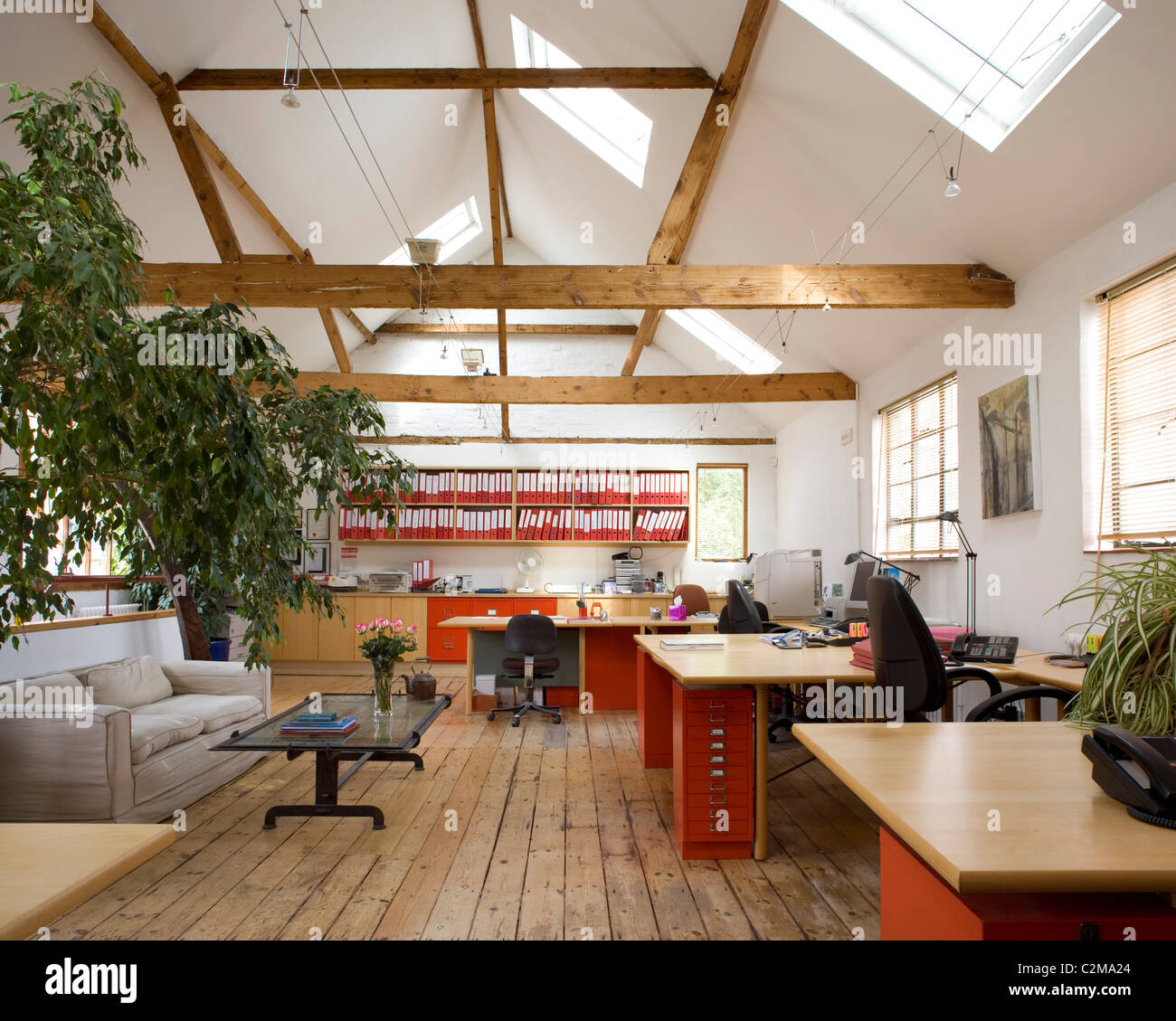 Loft Office Roof Lights Trusses In Double Height Room