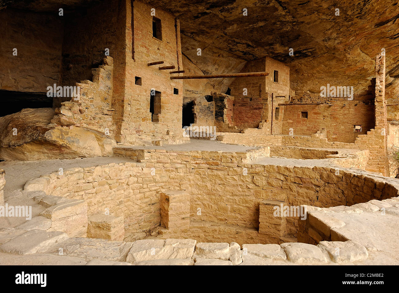 Remnants of kivas in Balcony House, cliff dwelling in Mesa Verde National Park Stock Photo