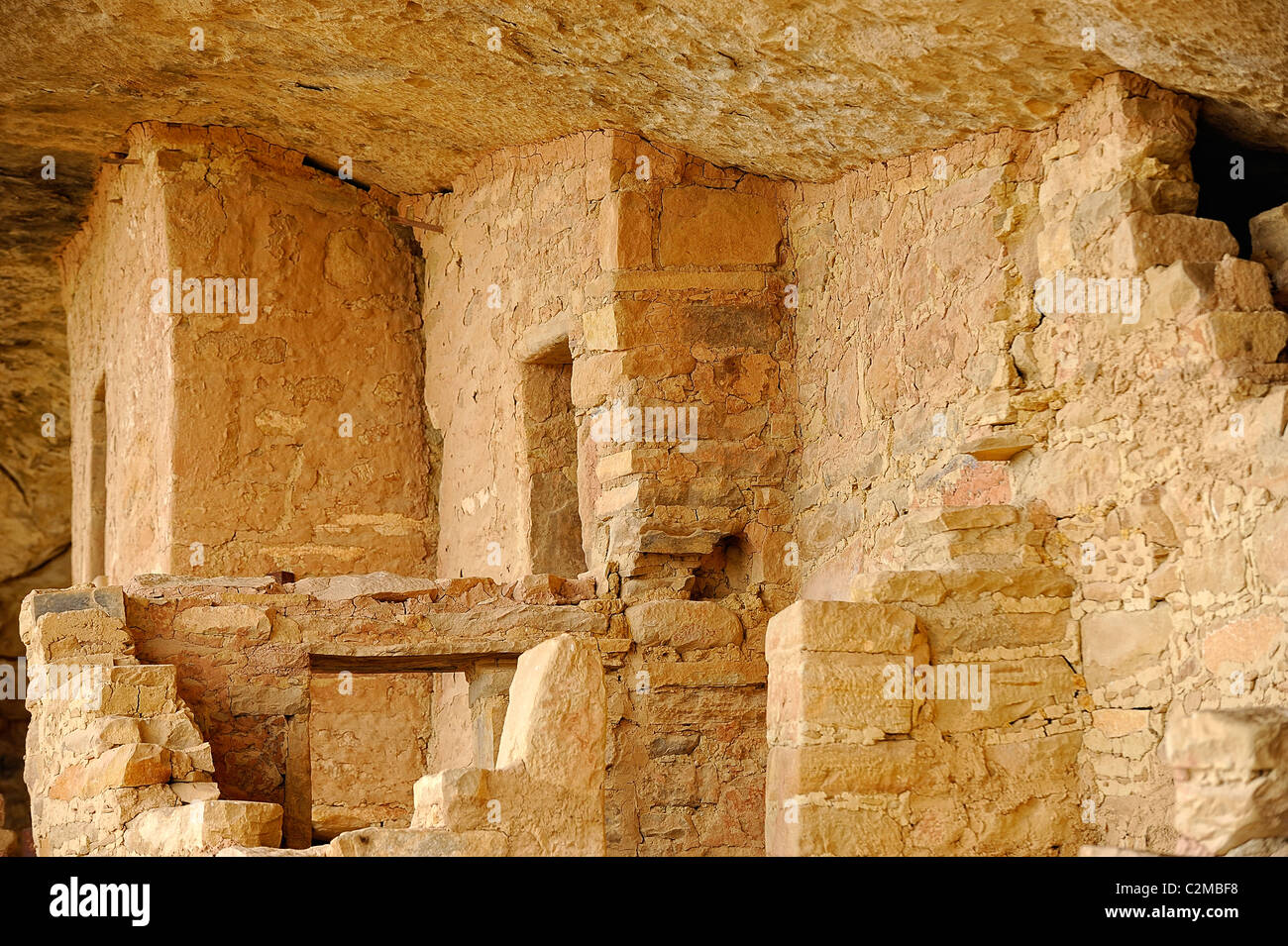 Dwellings in Balcony House, cliff dwelling in Mesa Verde National Park Stock Photo