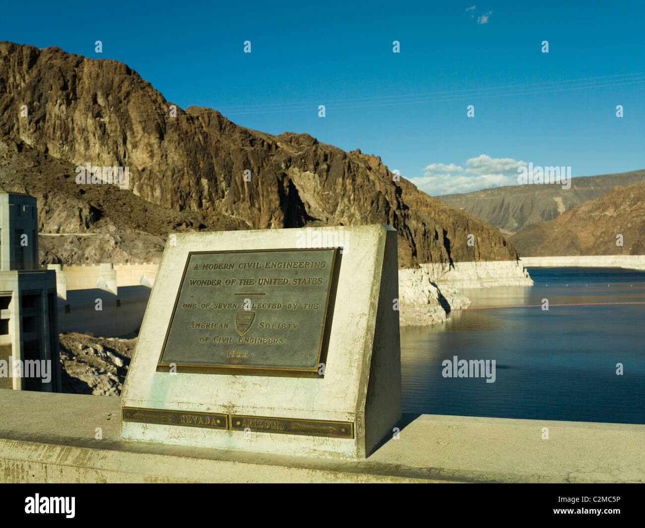 Hoover Dam plaque showing the dividing line between Nevada and Arizona states Stock Photo