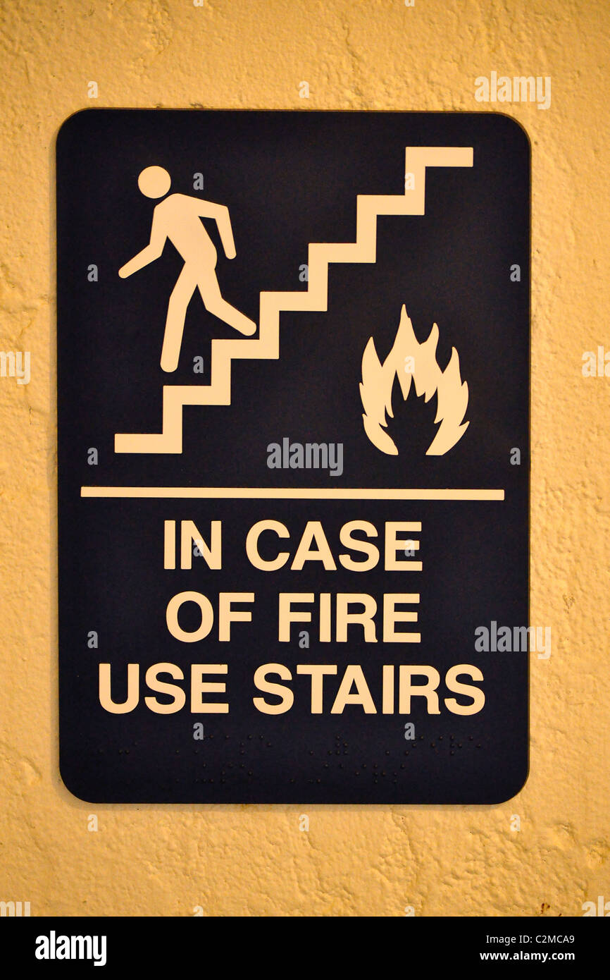in case of fire signage warning sign - Stock Image