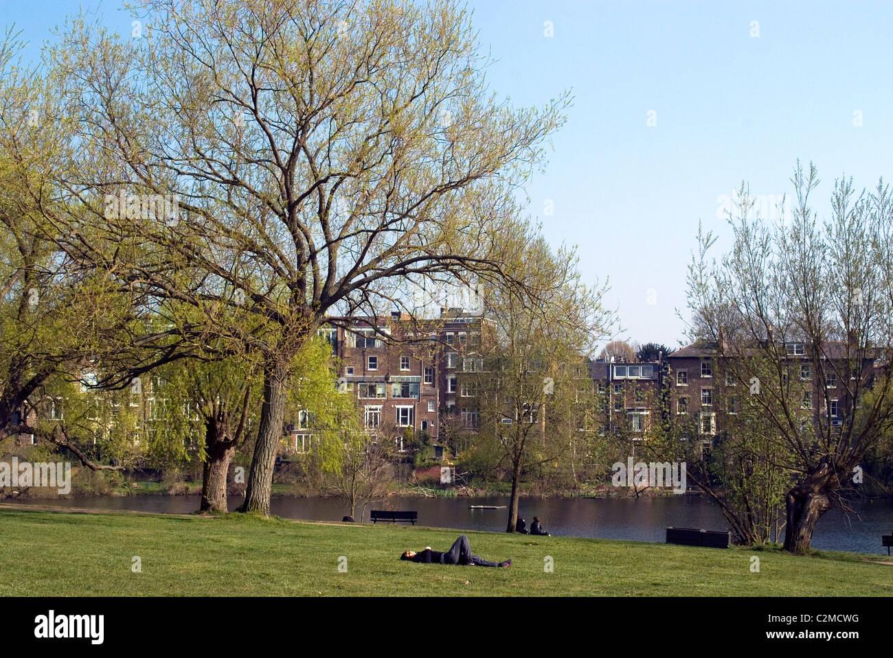 One of the Highgate Ponds, Hampstead Heath, London - Stock Image