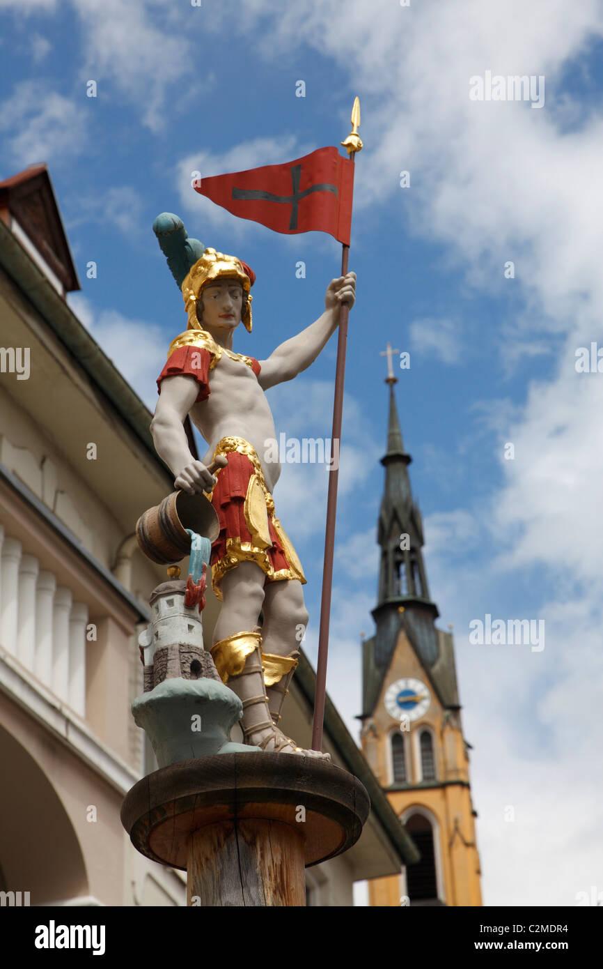Painted Statue, Bad Tolz, Bavaria. - Stock Image