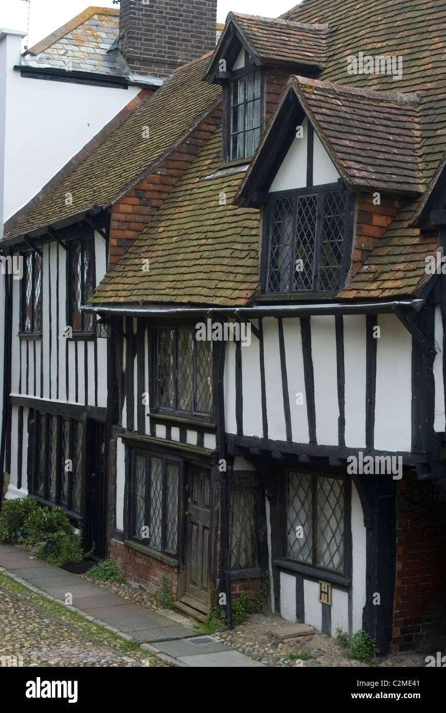 Tudor Houses, Rye, Kent, England - Stock Image