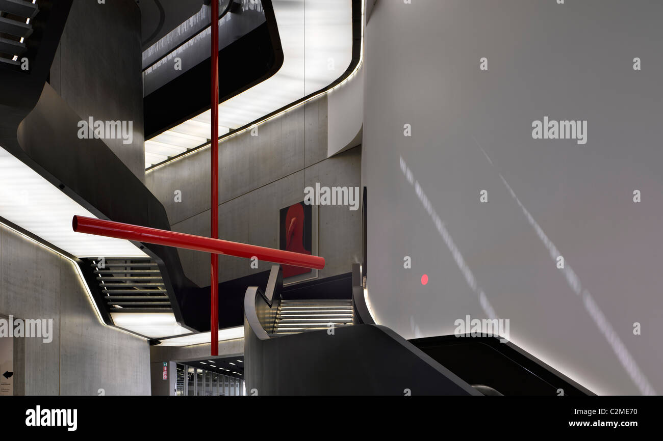 Main atrium and exhibition space at the MAXXI, National Museum of 21st Century Arts, Rome. - Stock Image