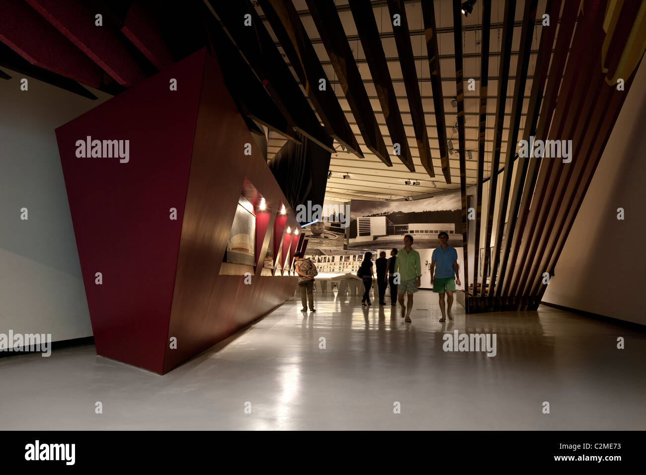 Entrance to architecture exhibit at the MAXXI, National Museum of 21st Century Arts, Rome. - Stock Image