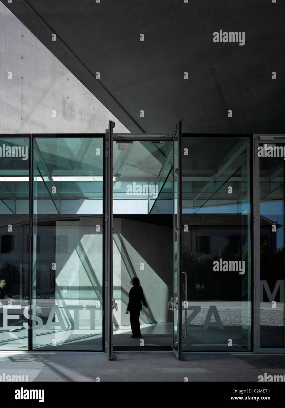 Glass covered walkway at the MAXXI, National Museum of 21st Century Arts, Rome. - Stock Image