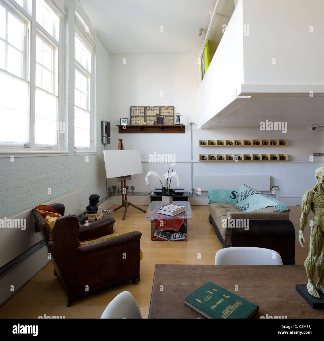 Modern apartment in renovated building - Stock Image