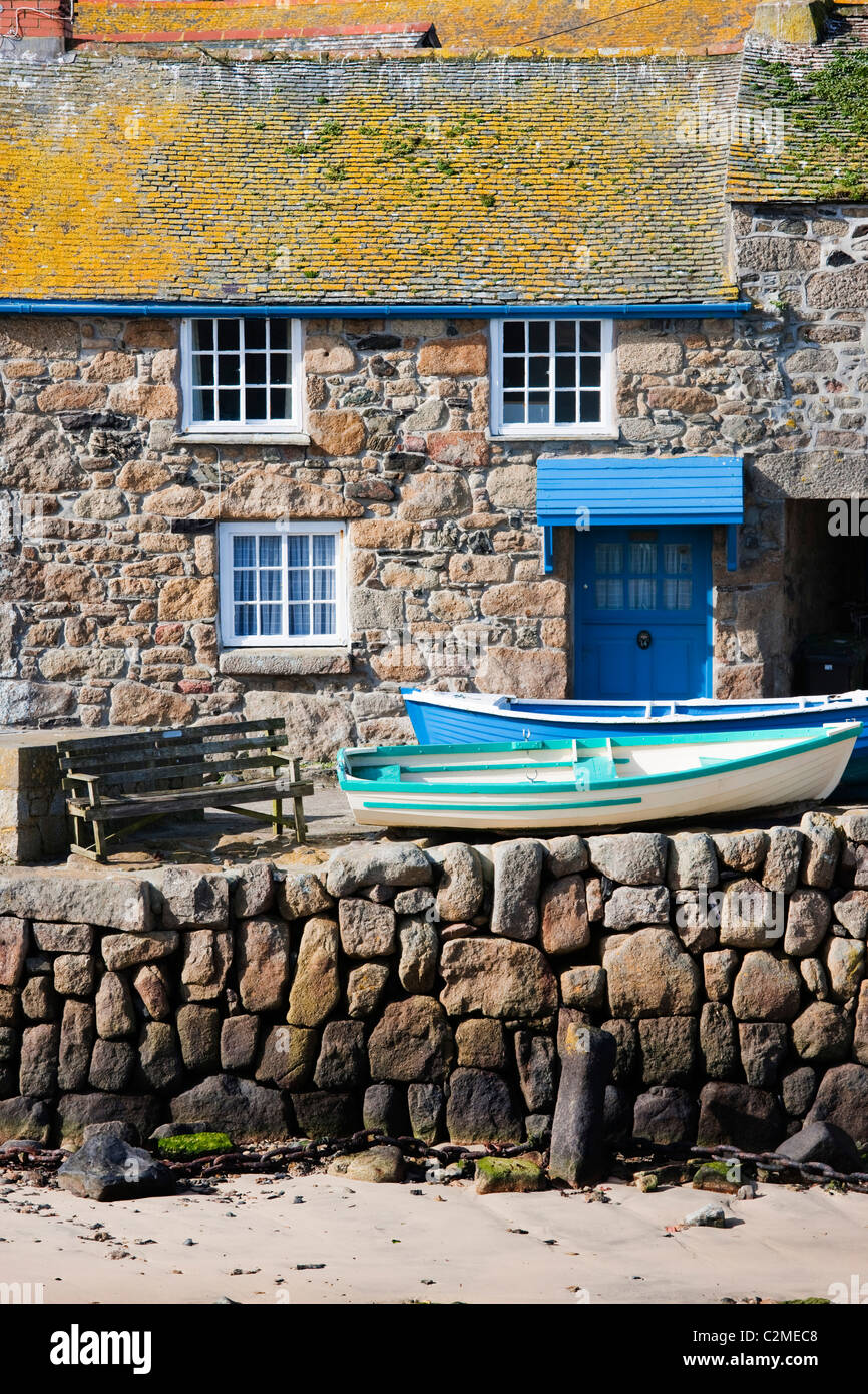 Traditional houses on the harbourside at Mousehole near Land's End, Cornwall, England Stock Photo