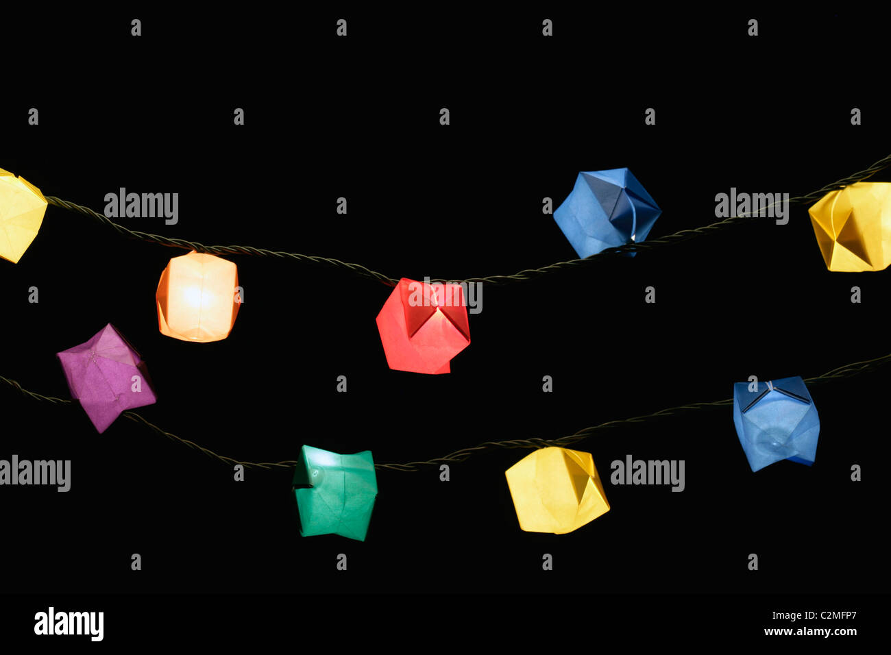 Origami Displayed On A String - Stock Image