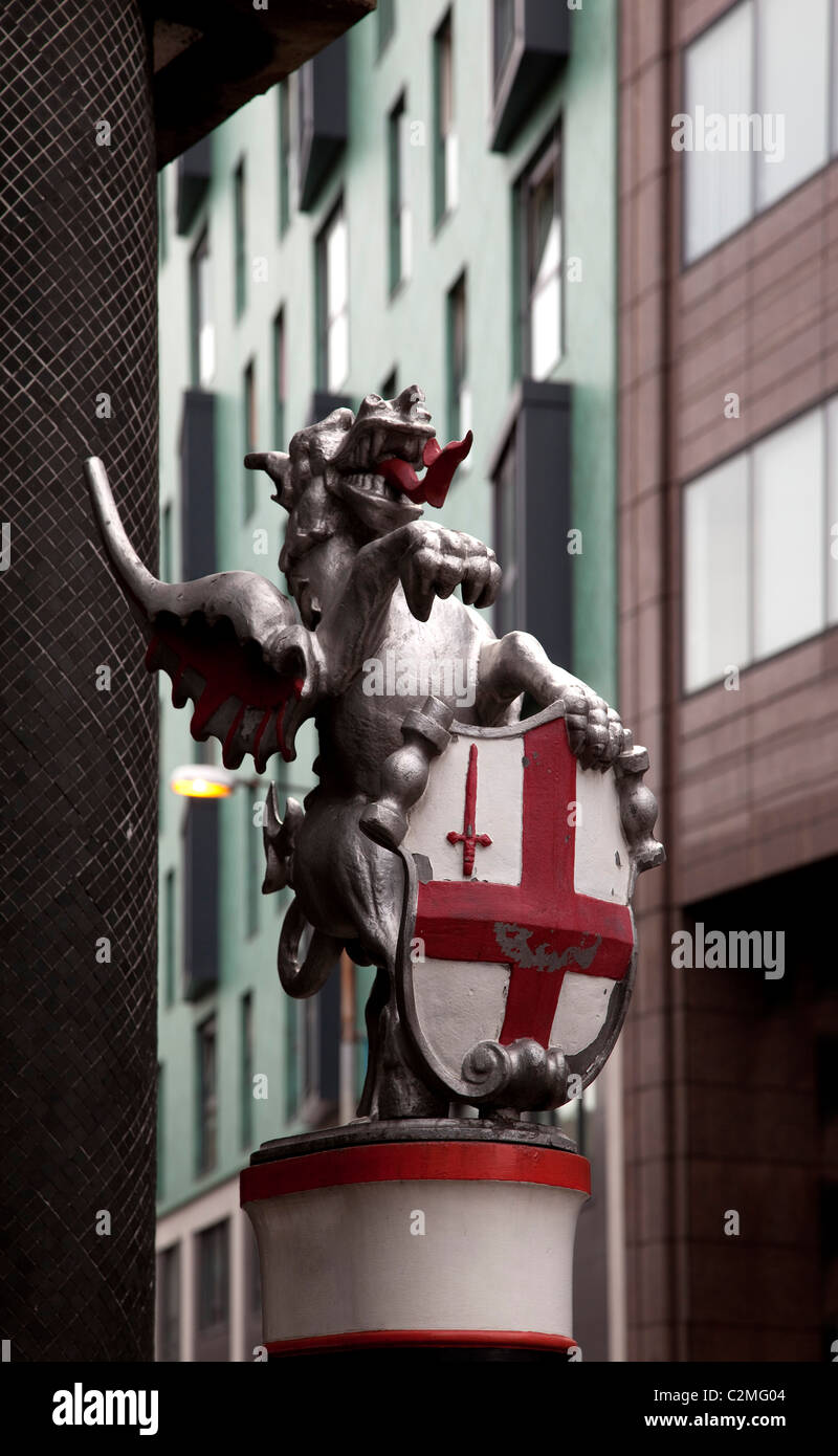 Dragon guarding most northerly boundary of City of London at junction of Goswell Road and Baltic Street West, London. - Stock Image