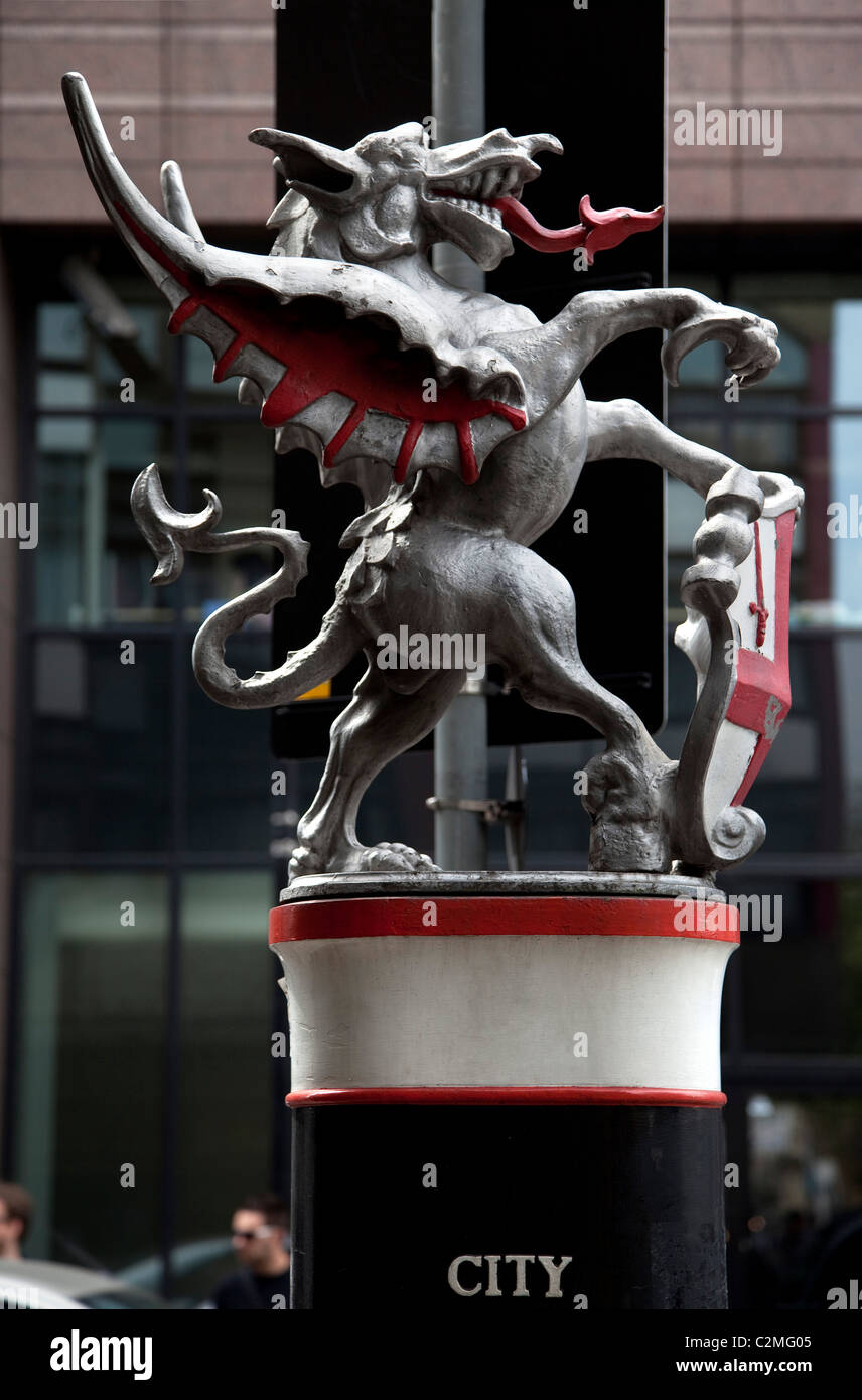Dragon guarding most northely boundary of City of London at junction of Goswell Road and Baltic Street West, London. - Stock Image