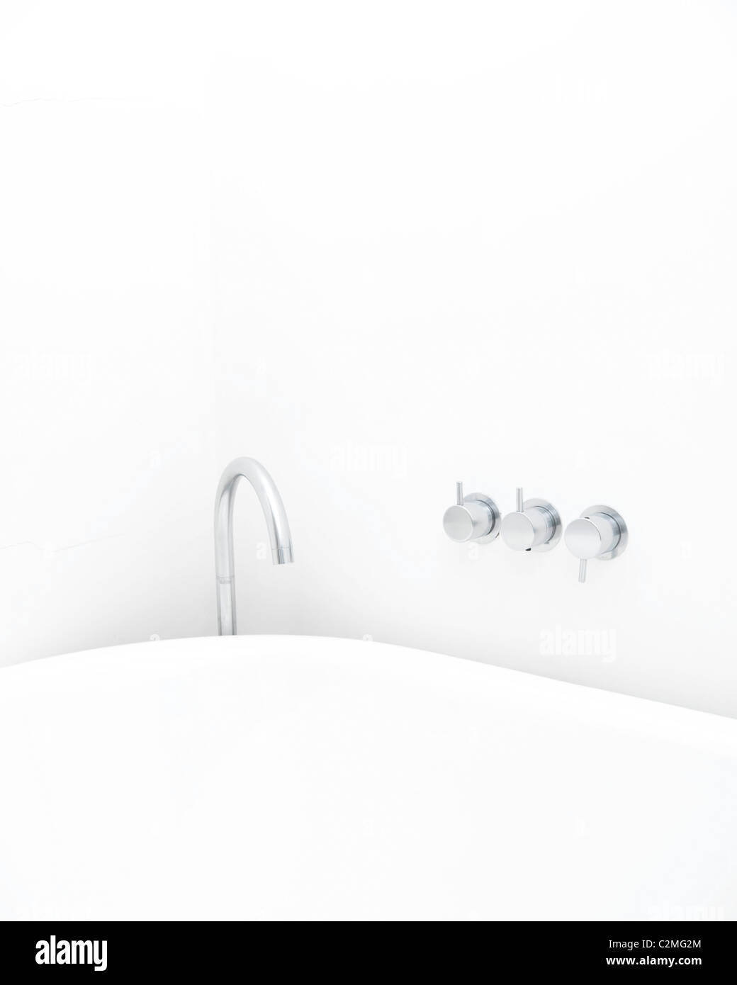 Bath tap and mixer detail, Orchard Cottage. - Stock Image
