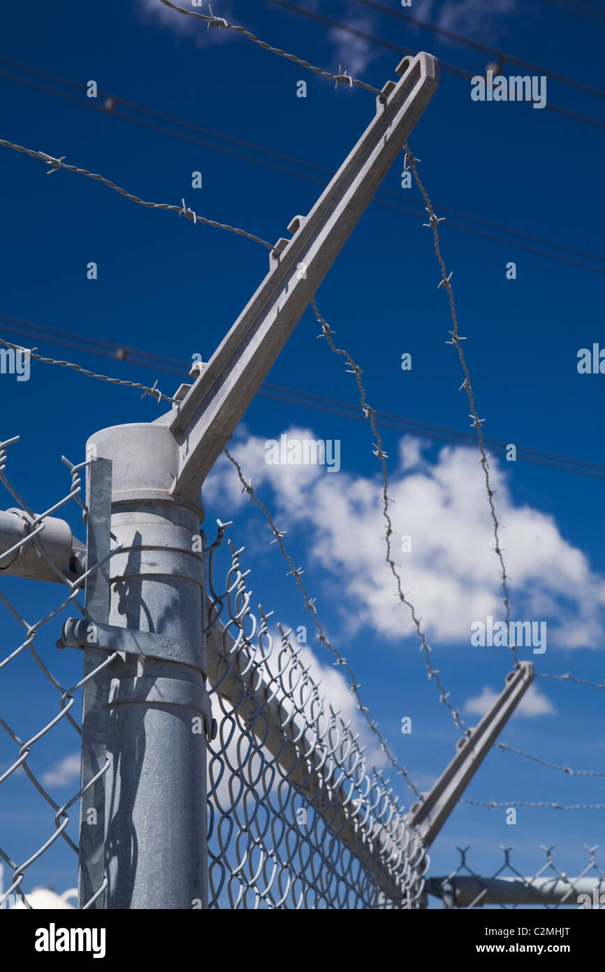 Barbwire Security Fence, Montreal, Quebec, Canada - Stock Image
