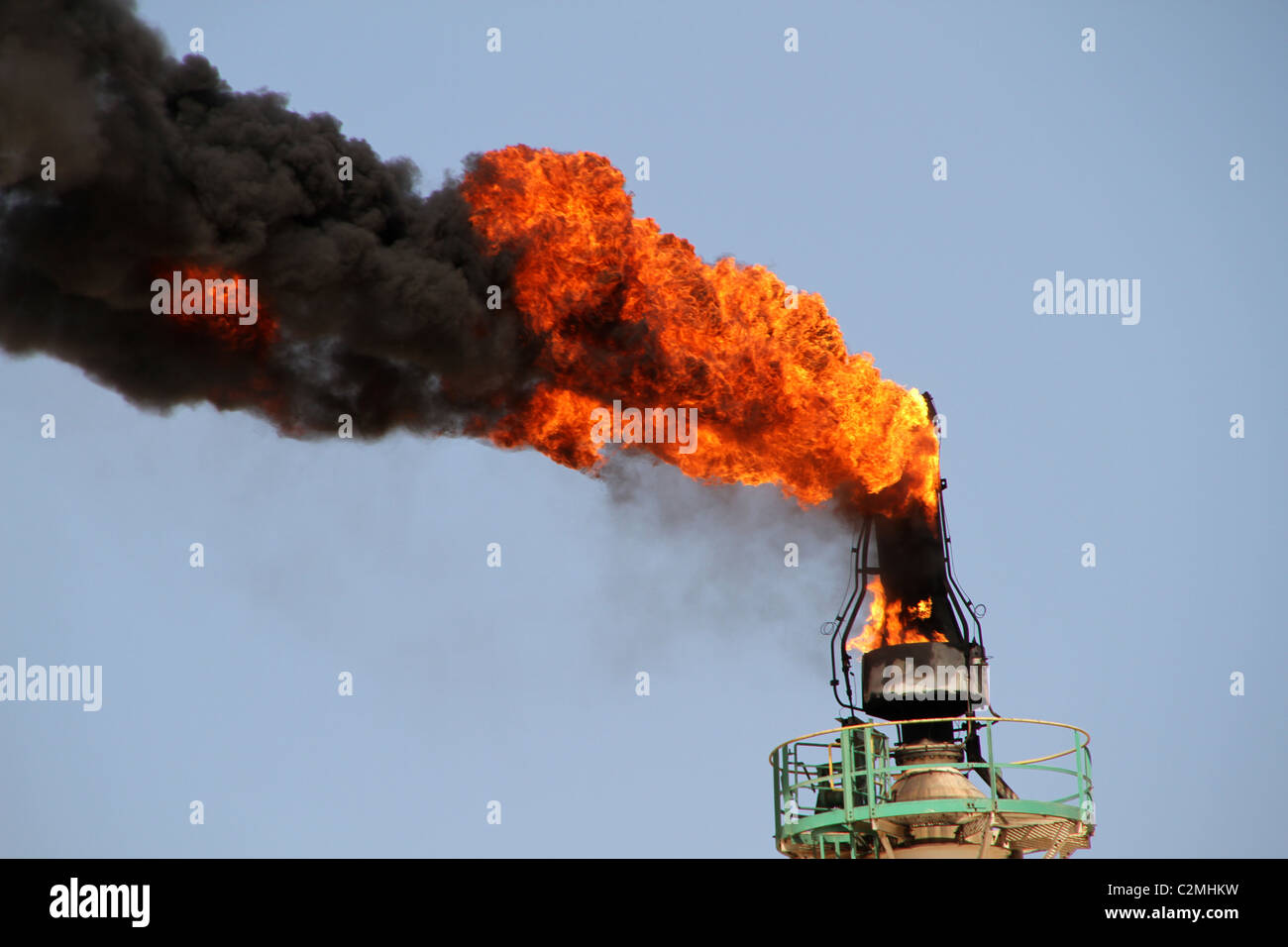 Huge flames leak from a gas pipe Stock Photo