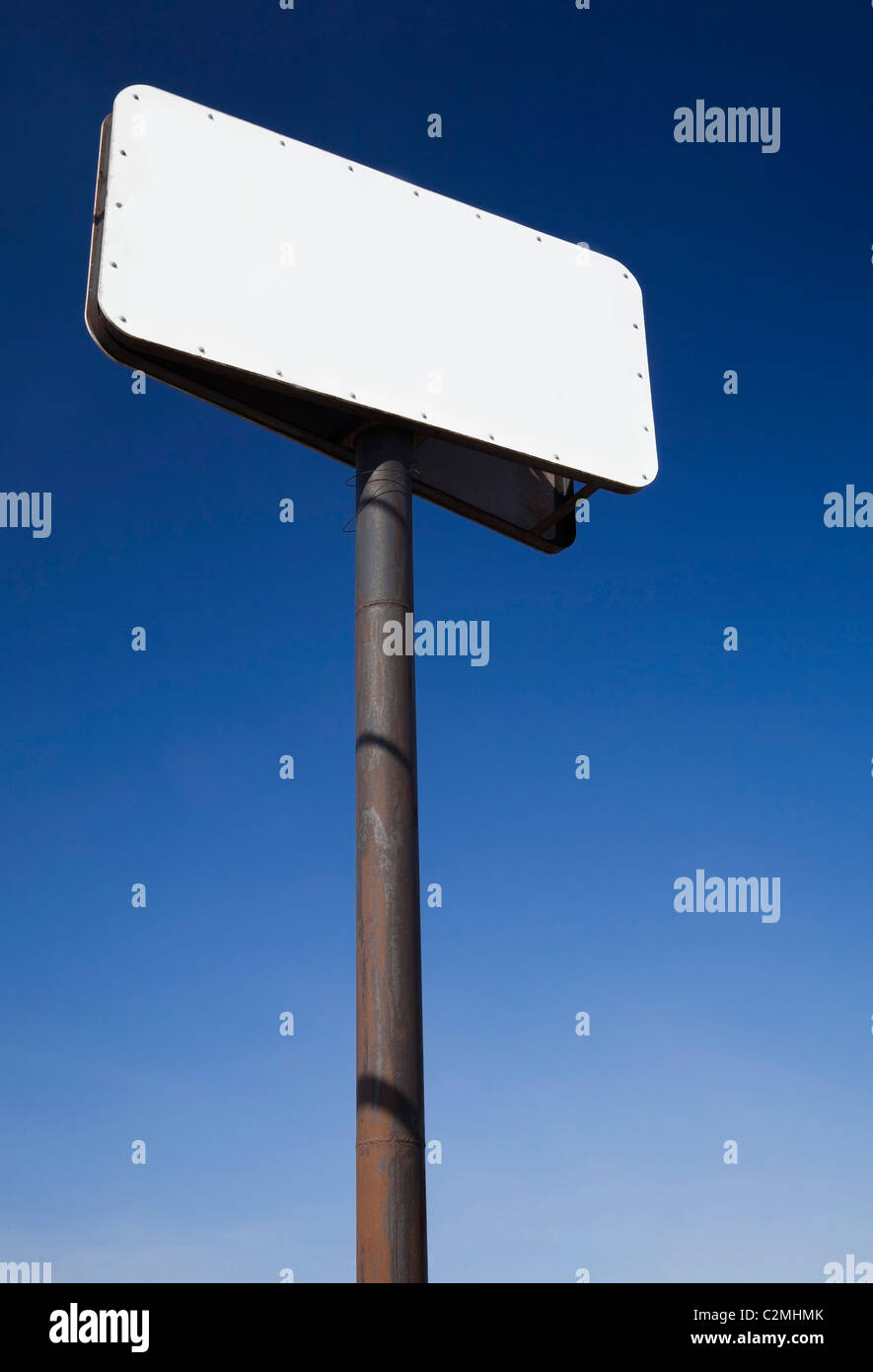 Blank Sign On A Steel Post - Stock Image