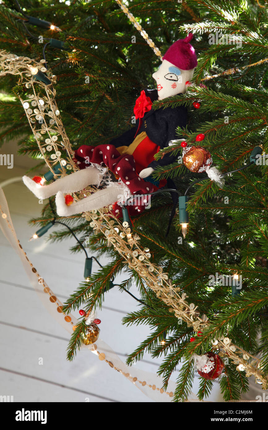 Christmas tree with Jessica Quinn doll - Stock Image
