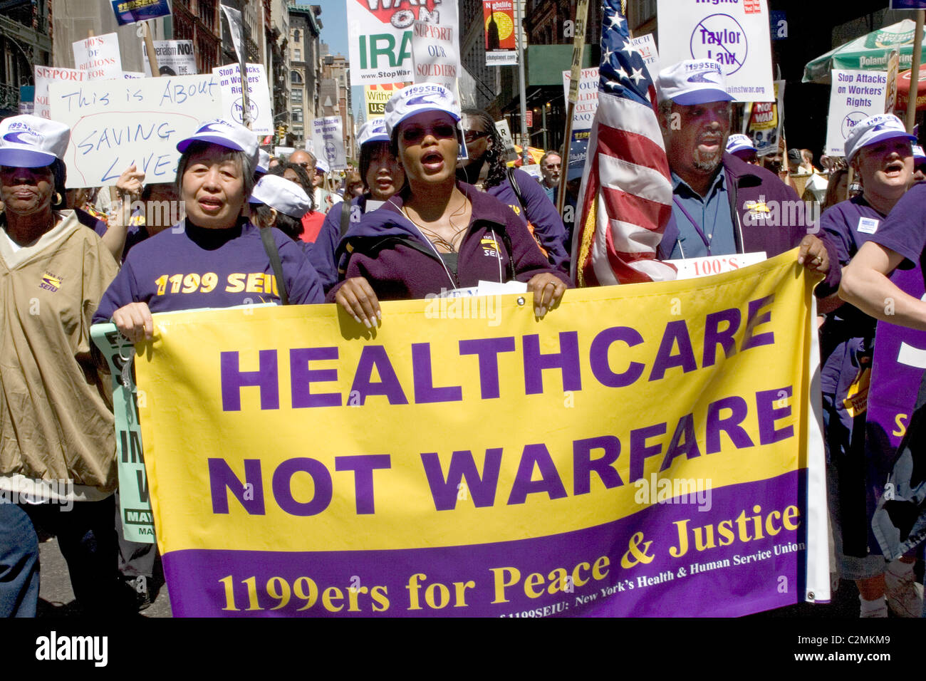 2006, Broadway, New York City: Anti-war and peace march expressing a general dissatisfaction with the Bush administration - Stock Image
