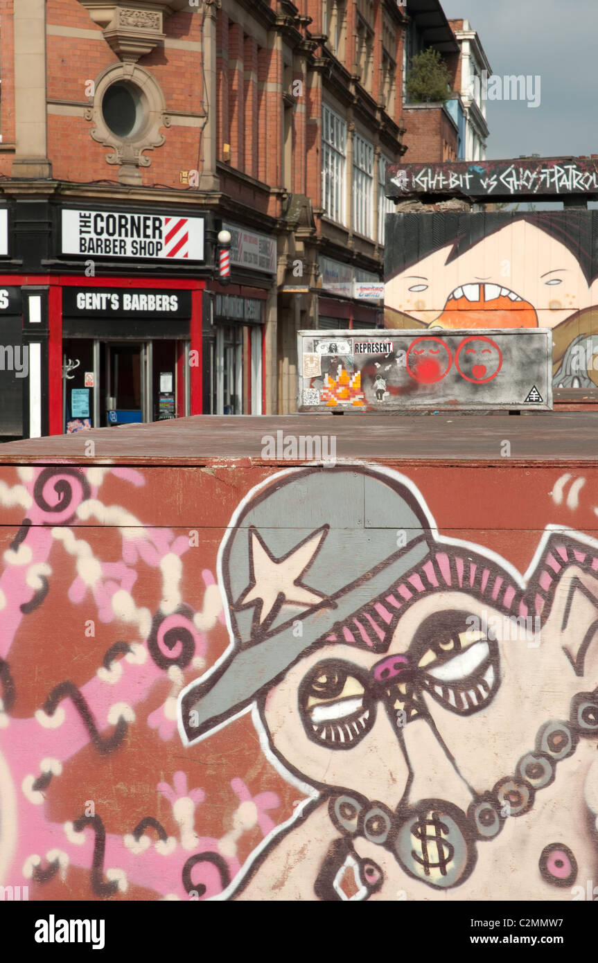 Street art in the Northern Quarter district of Manchester. Stock Photo