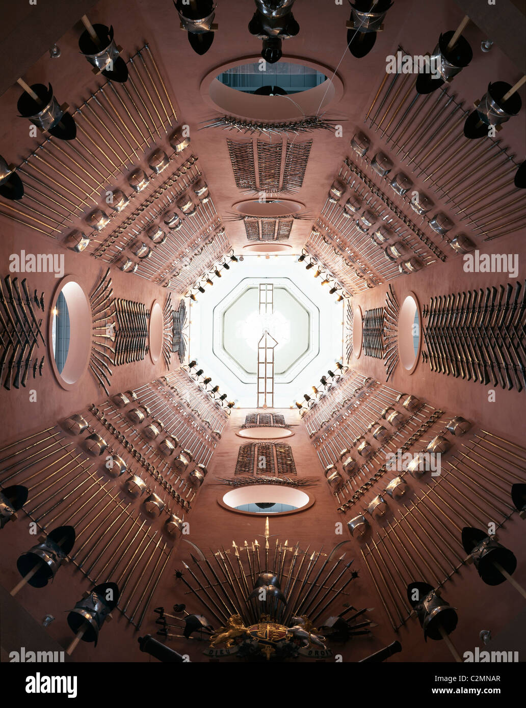 Royal Armouries - Military Museum, Leeds, Yorkshire, England. - View up the tower gallery. - Stock Image