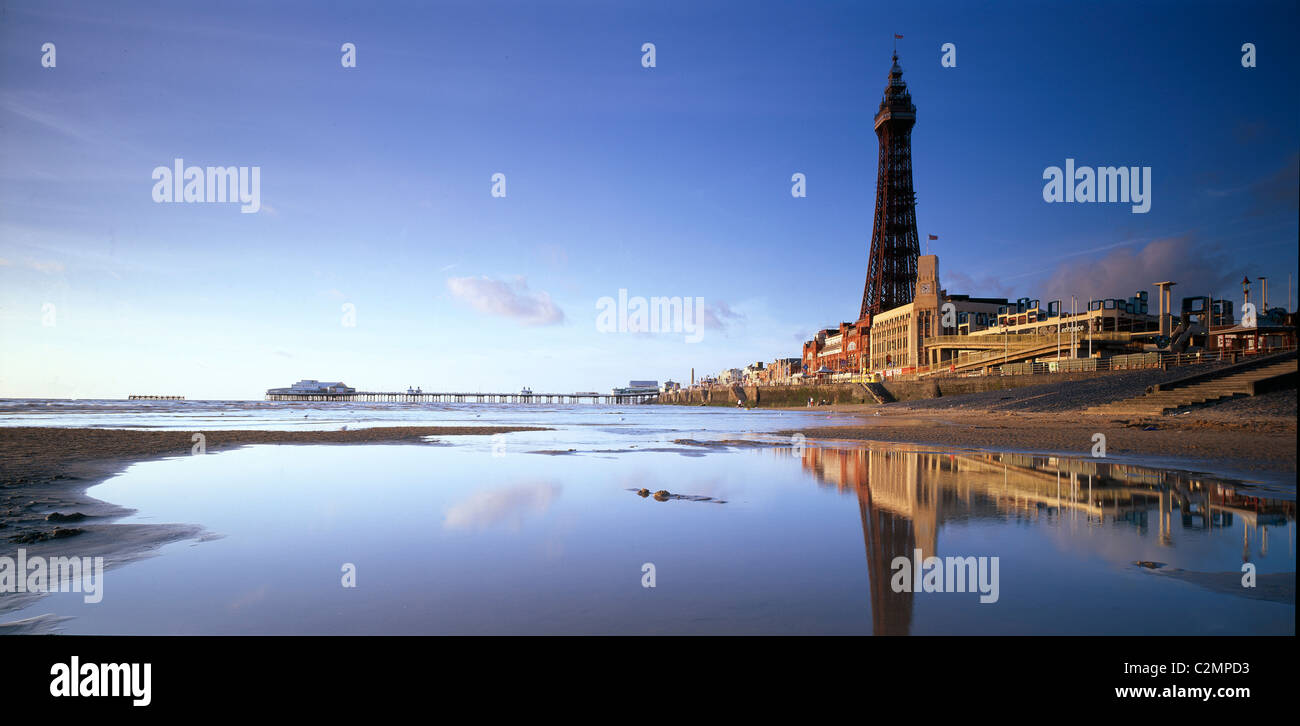Blackpool seafront with North Pier and Tower. Stock Photo