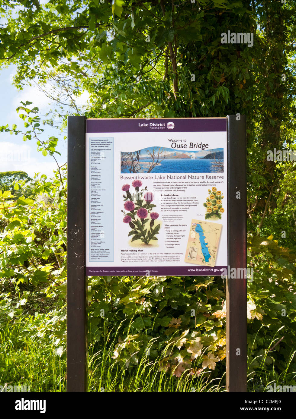 Tourist information board at Bassenthwiate Lake Nature Reserve, The Lake District, Cumbria, England UK - Stock Image