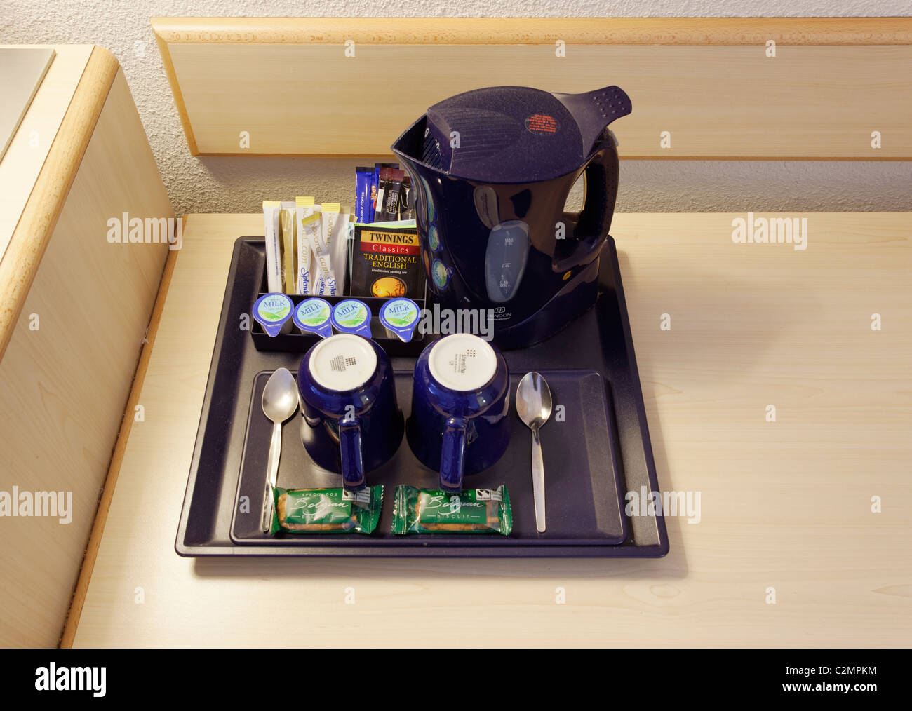 Tea and coffee tray in a hotel room, UK - Stock Image
