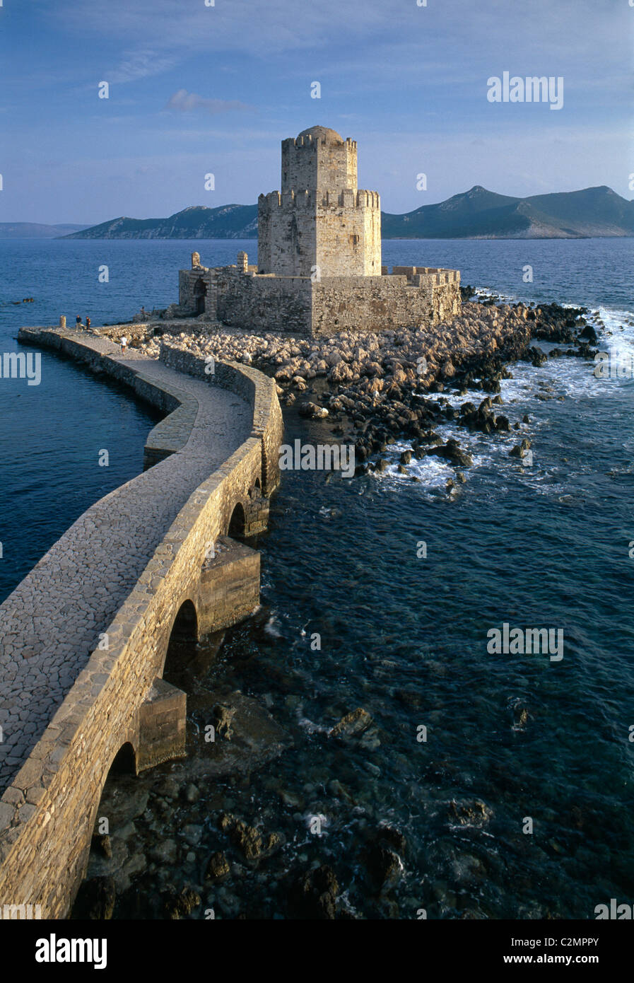 Bourtzi Islet and Tower Methoni Peloponnese, Greece - Stock Image