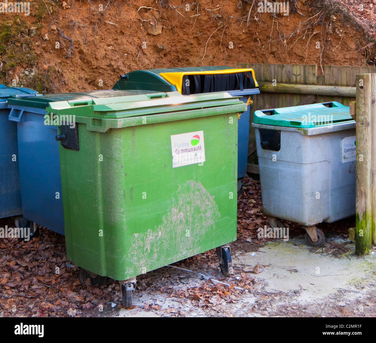 Communal rubbish bins in France - Stock Image