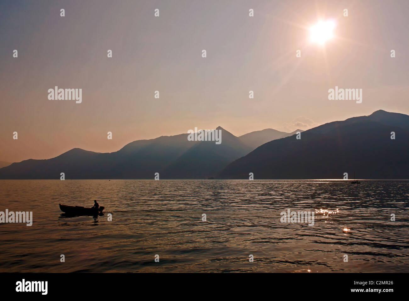 Sunset at Lago Maggiore - Stock Image