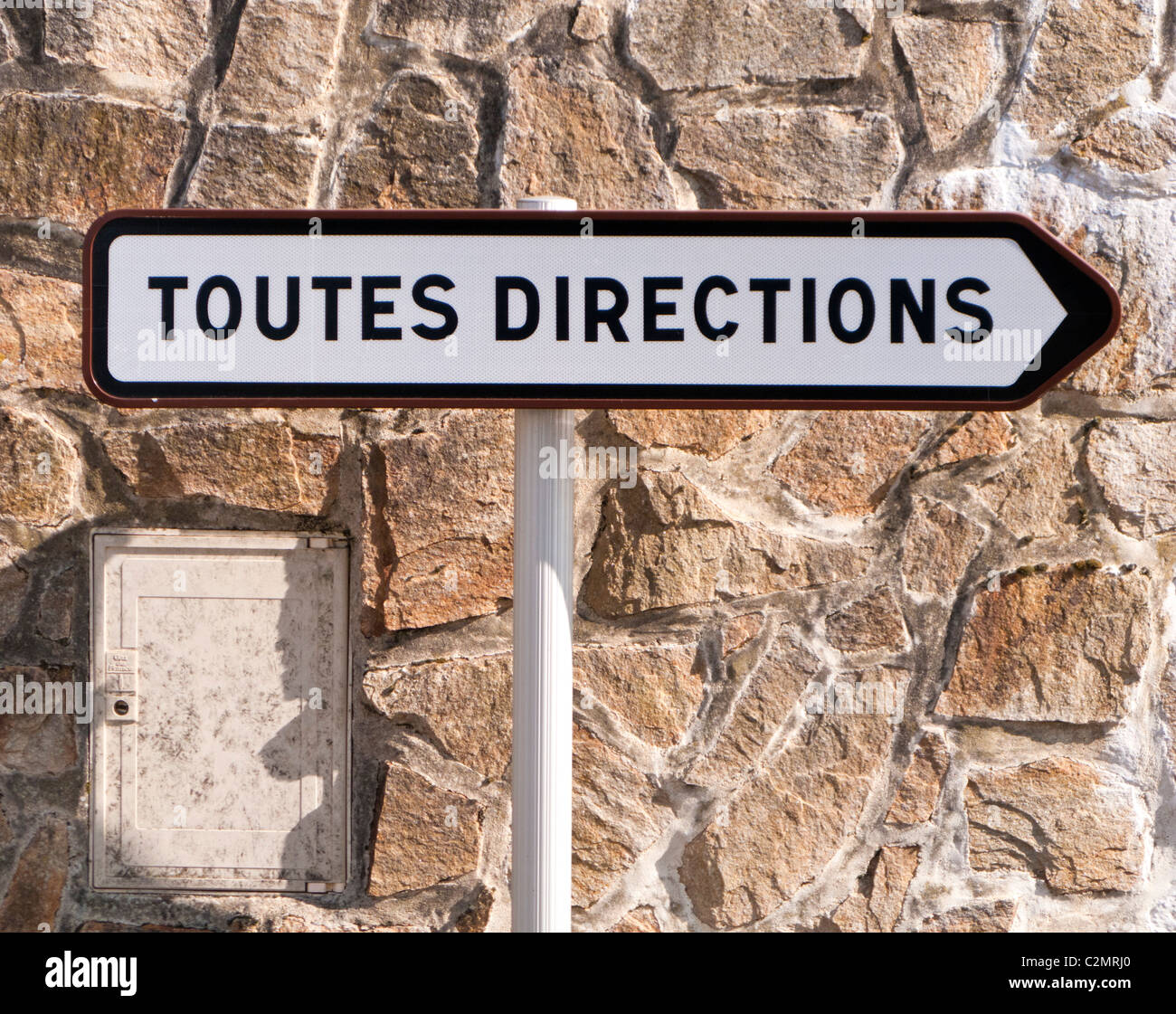 French road sign signpost Toutes Directions directional signs, France Stock Photo