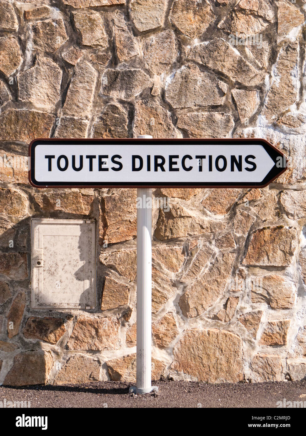 French road sign signpost Toutes Directions directional signs France Europe - Stock Image