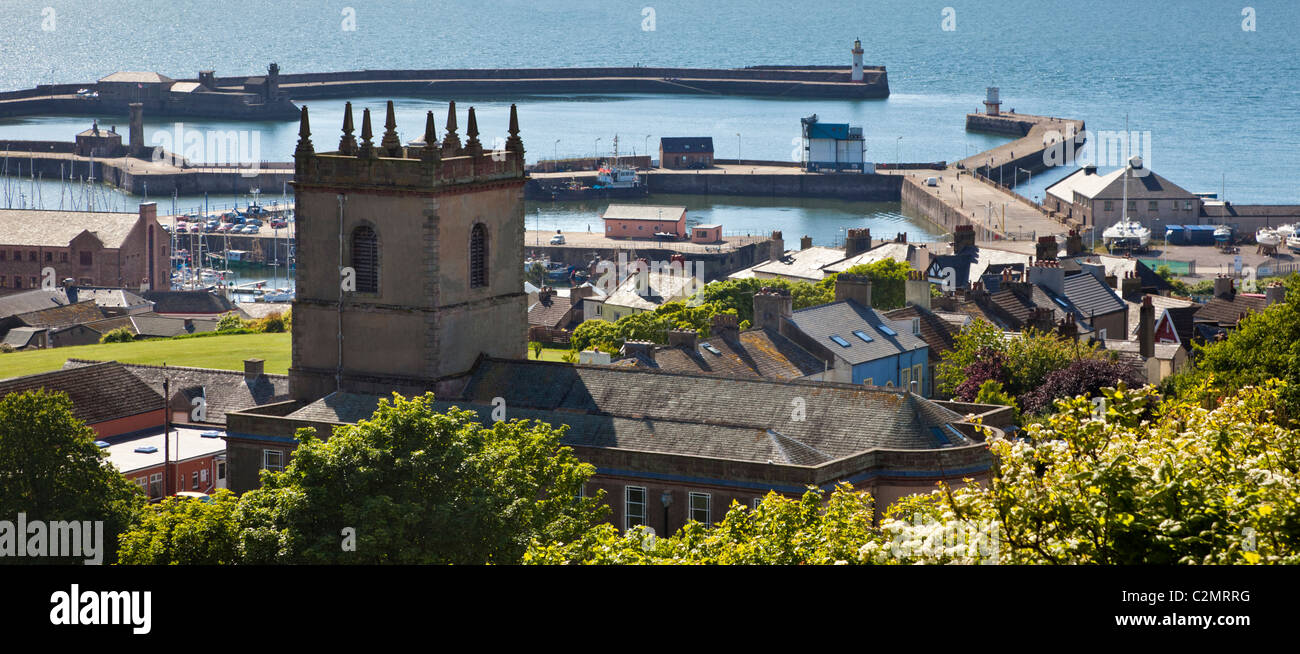 Whitehaven, Harbour and Church, Cumbria, England UK - Stock Image