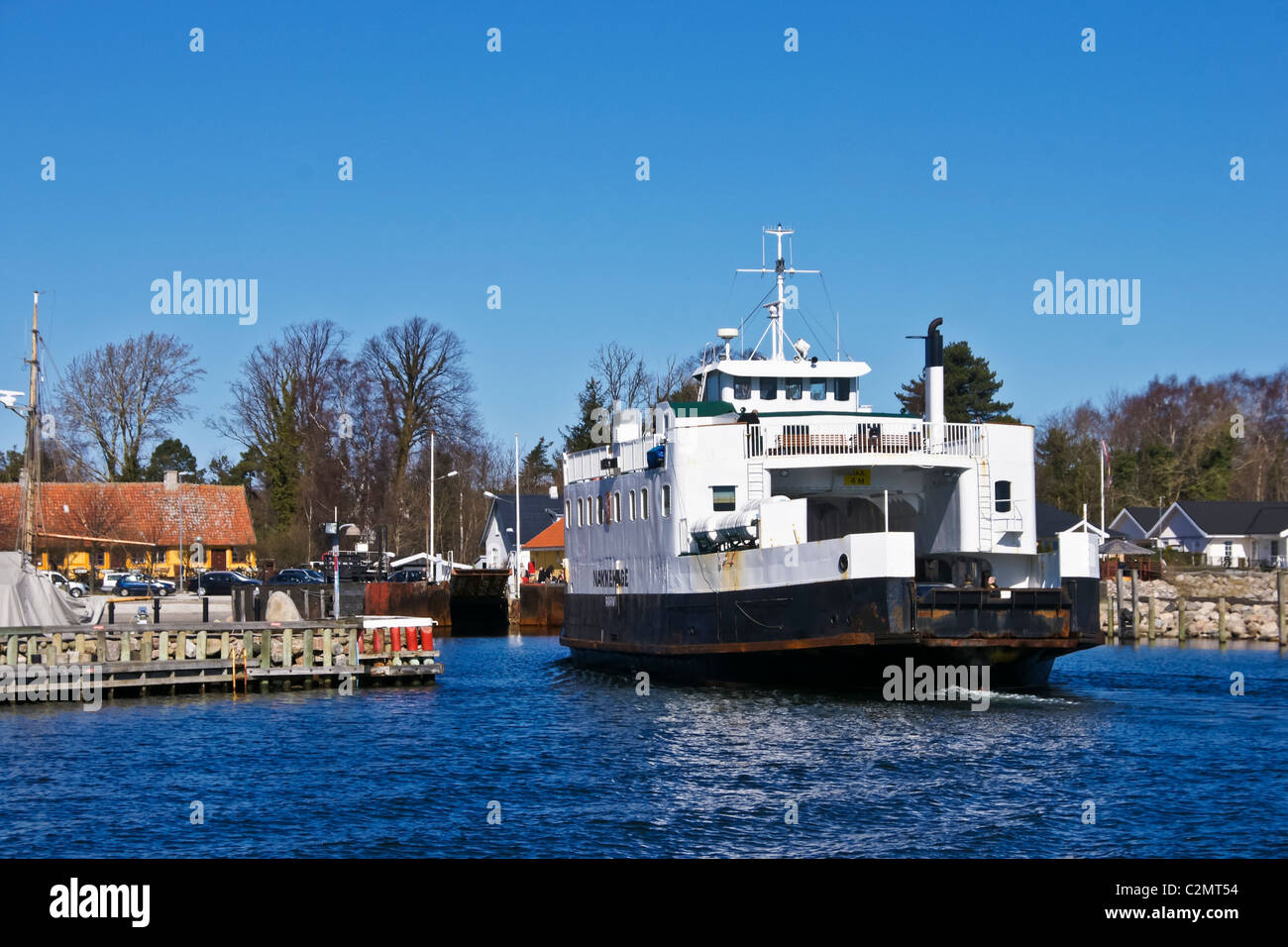 The Roervig-Hundested ferry Nakkehage is preparing to berth in  Roervig harbour Sealand Denmark - Stock Image