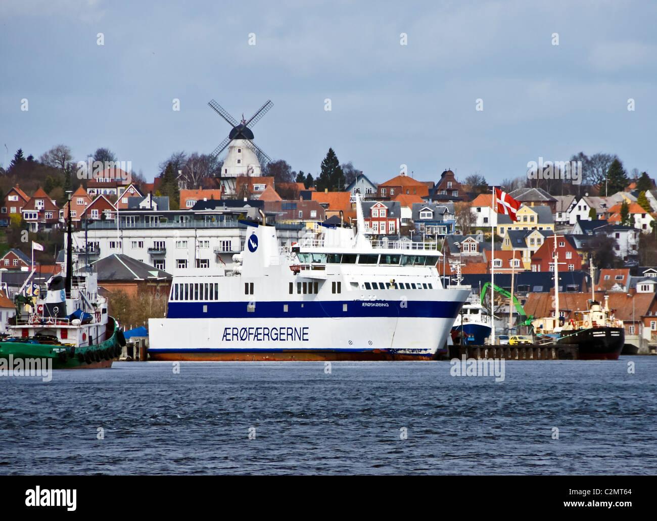 Ærøfærgerne M/F Ærøskøbing at its berth in Svendborg harbour Denmark Stock Photo