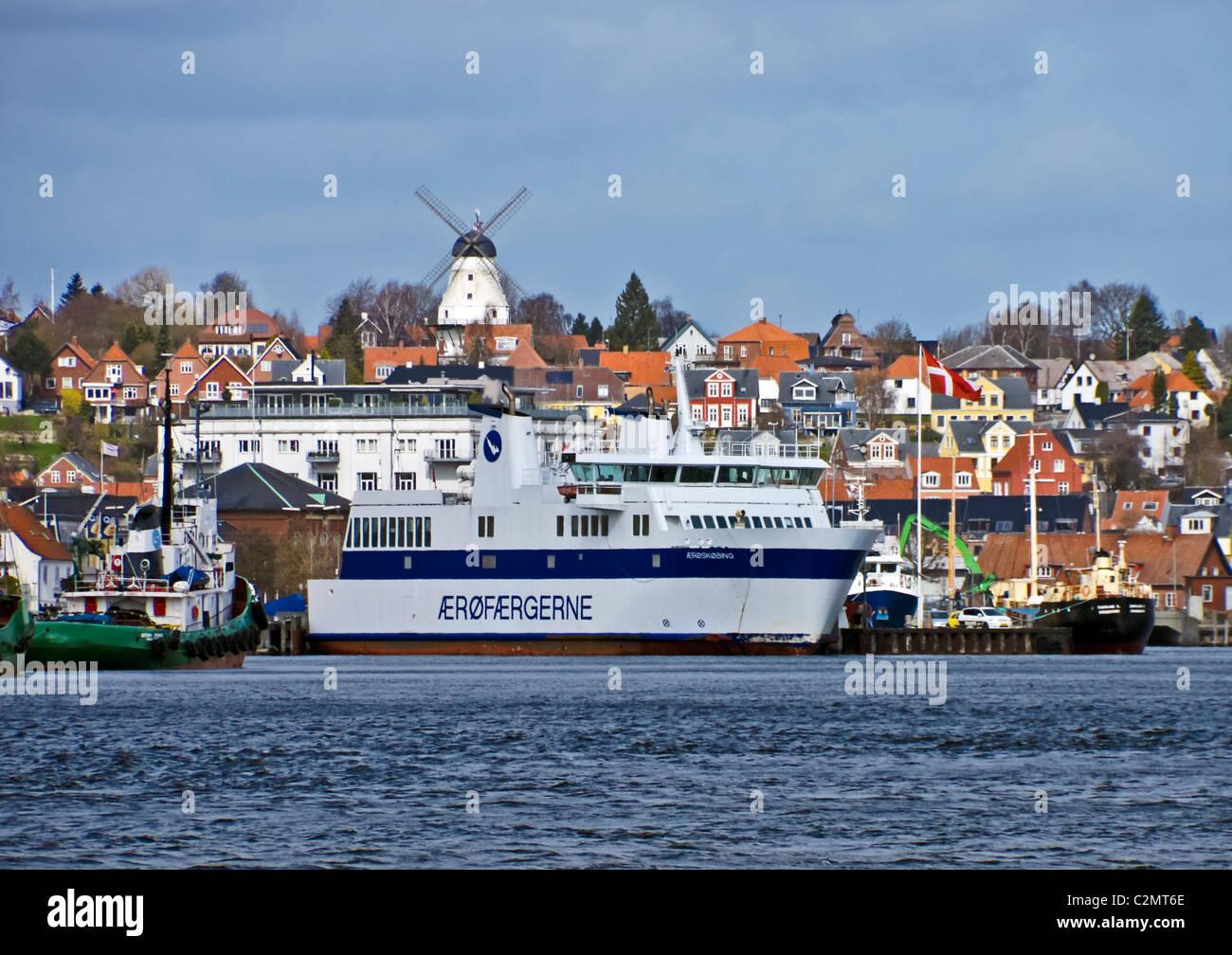 Ærøfærgerne M/F Ærøskøbing at its berth in Svendborg harbour Denmark - Stock Image
