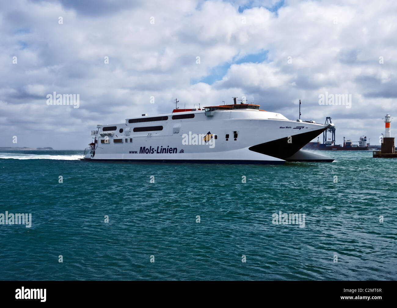 Mols Linien fast car and passenger ferry Max Mols approaching Aarhus Harbour in Jutland Denmark - Stock Image
