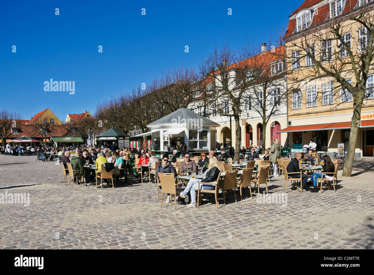 People enjoying good food and drink in the Elsinore town square Denmark - Stock Image