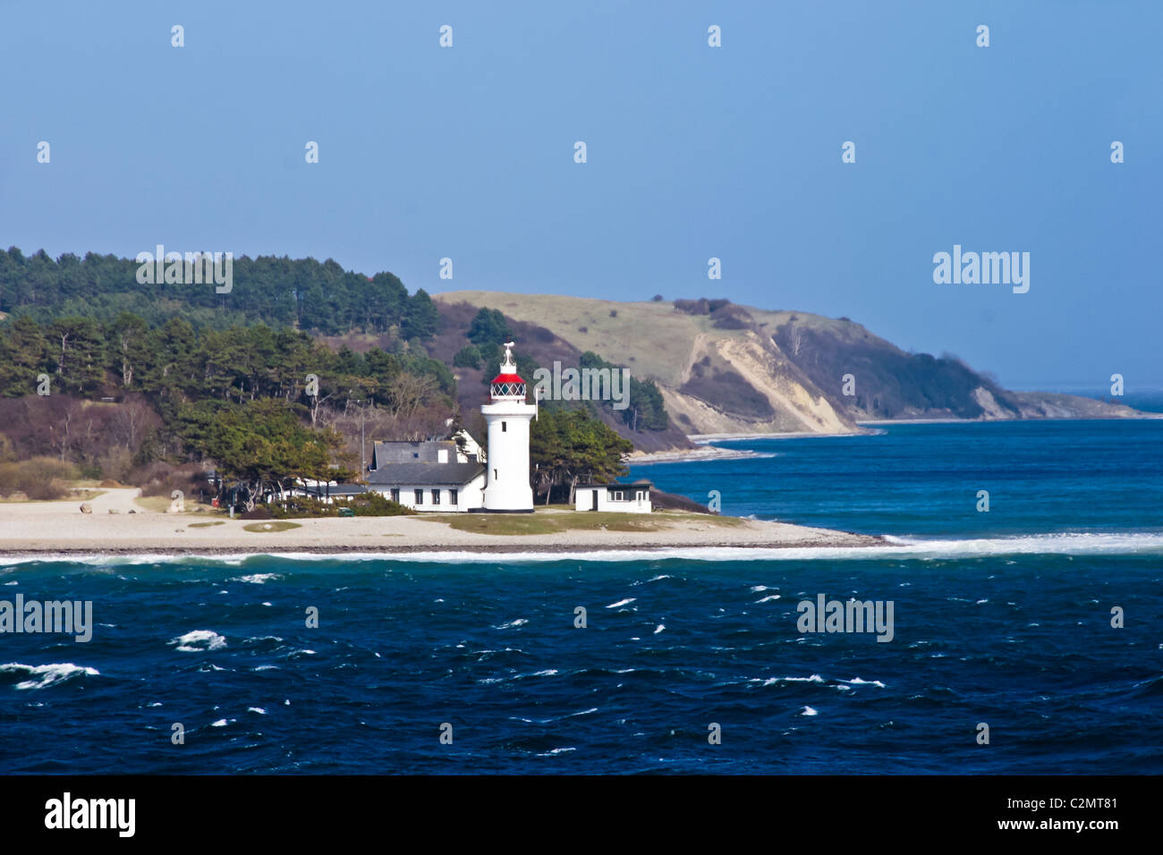 Rosnaes lighthouse near the mouth of Kalundborg Fjord where it joins the Kattegat in Denmark - Stock Image