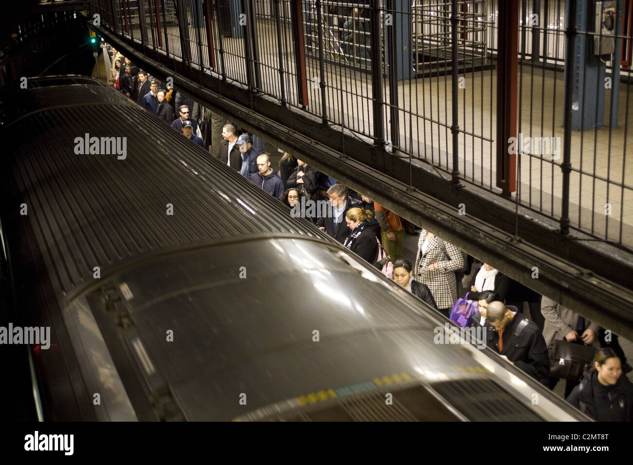 Subway station platform at 14th Street in New York City. - Stock Image