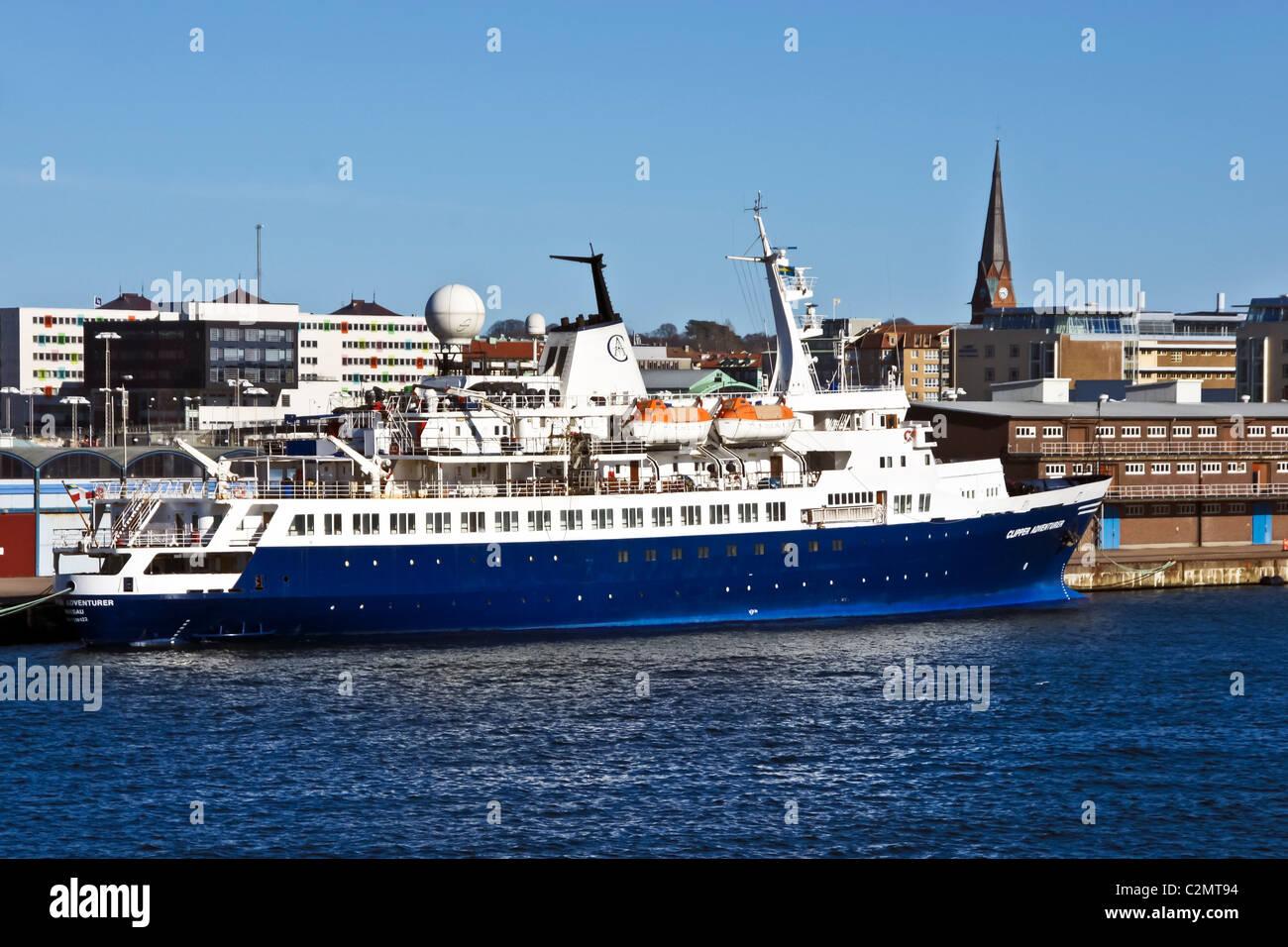 The cruise ship Clipper Adventurer moored in Helsingborg Harbour Sweden - Stock Image